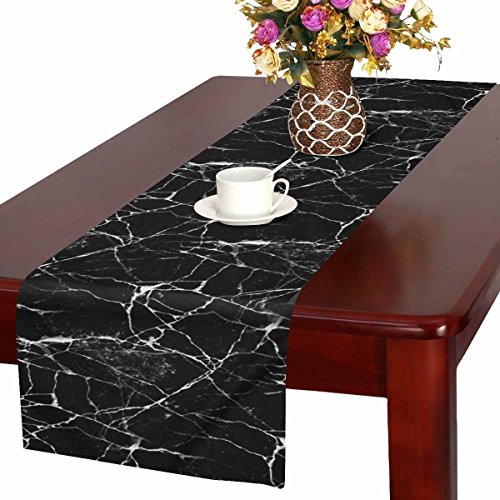 InterestPrint Black Marble Batik Stone Abstract Lines Table Runner Cotton Linen Cloth Placemat Home Decor for Home Kitchen Dining Wedding Party 16 x 72 Inches (Marble Action Black)