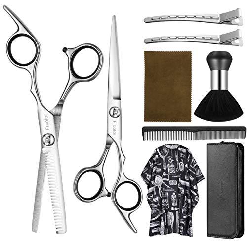 Hair Cutting Scissors Set 6.7 Inch, Frcolor 9 Pcs Stainless Steel Hair Cutting Shears Hairdressing Scissors Professional…
