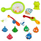 TONZE Bath Toys Set Fishing Game Bathtub Time Floating Bath Toy Bathtime toys Funny Game Kids 18 Months+