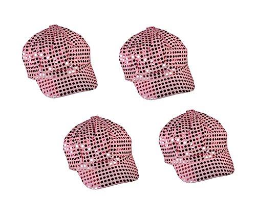 4 Pack - Pink Sparkly Sequin Newsboy Cap Diva Hat Disco Rave Girls Costume (Disco Dancewear)