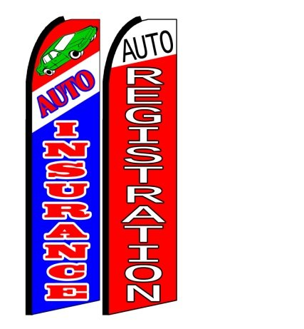 Auto Insurance, Auto Registration King Size Swooper Flag Sign Pack of 2 ()