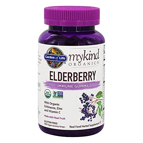 Garden of Life mykind Organics Elderberry Immune Gummy – 120 Real Fruit Gummies for Kids & Adults – Echinacea, Zinc & Vitamin C, No Added Sugar – Organic Non-GMO Vegan & Gluten Free Herbal Supplement