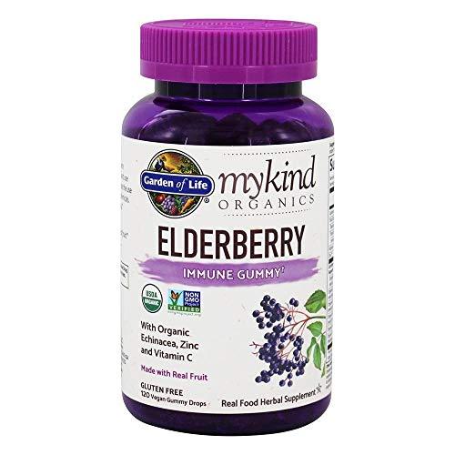 Garden of Life mykind Organics Elderberry Immune Gummy – 120 Real Fruit Gummies for Kids & Adults – Echinacea, Zinc & Vitamin C, No Added Sugar – Organic Non-GMO Vegan & Gluten Free Herbal Supplement