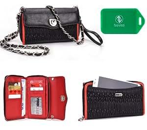 Xiaomi MI-2s*SplaSh series* Cross Body wallet w/ extrerior phone pocket in red PLUS Bonus Neviss Luggage Tag