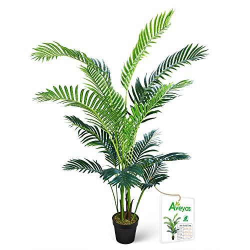 Aveyas 5ft Artificial Kentia Areca Palm Silk Tree in Plastic Nursery Pot, Fake Tropical Plant for Office House Living…