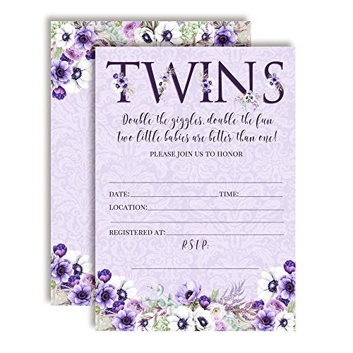 """Watercolor Violets Floral Baby Sprinkle Baby Shower Invitations for Twins, 20 5""""x7"""" Fill in Cards with Twenty White Envelopes by AmandaCreation"""