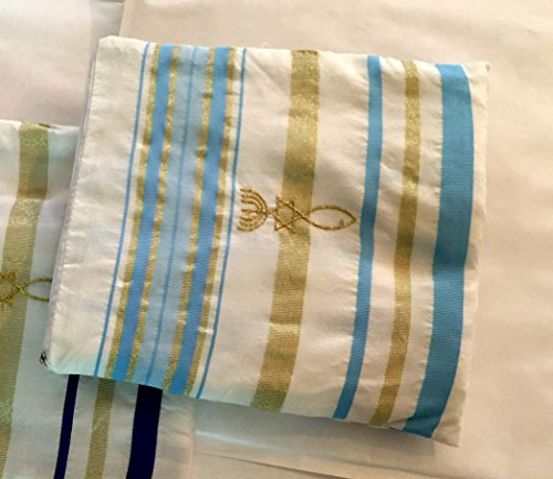 Light Blue and Gold Grafted In Messianic Tallit Talit Prayer Shawl 22x72 with matching Bag