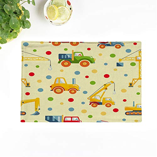 Topyee Set of 8 Placemats Detailed with Toys Heavy Equipment and Machinery Asphalt Backhoe Big Build Bulldozer 17x12.5 Inch Non-Slip Washable Place Mats for Kitchen Dinner Table Mats Parties Decor from Topyee