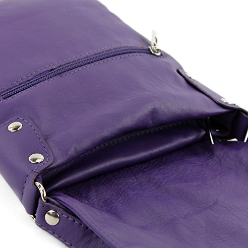 T33 Shoulder Messenger modamoda ital bag de bag leather ladies Purple 7UqFvw8Pvx