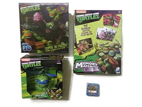 TMNT Fun Games Bundle - 1 x Leonardo Heli Ball, Memory Match Game, Super 3D Puzzle, Crust Cutter and Magic Towel - (5 Items)