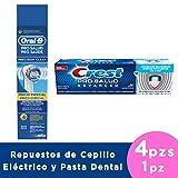 CREST + ORAL-B Pasta Pro-Salud Advance de 120 ml y Repuestos Precision Clean para Cepillo Eléctrico, 4 Piezas