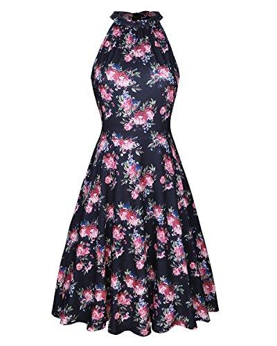 OUGES Women's Halter Neck Floral Summer Casual Sundress(Floral-05,XL)
