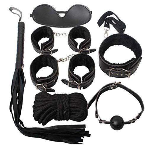 for Funny Suction 7pcs Handcuffs Cuff Strap Whip Rope Bandage Slave Restraint Collar Eyemask