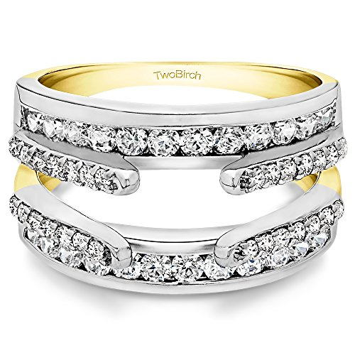 TwoBirch 0.5 Ct. Combination Cathedral and Classic Ring Guard in 10K Two-Tone Gold with Diamonds (G,I2)(Size 9.75)