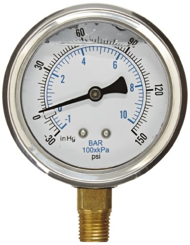 PIC Gauge PRO-201L-254CF Glycerin Filled Industrial Bottom Mount Pressure Gauge with Stainless Steel Case, Brass Internals, Plastic Lens, 2-1/2'' Dial Size, 1/4'' Male NPT, 30/0/150 psi by PIC Gauges