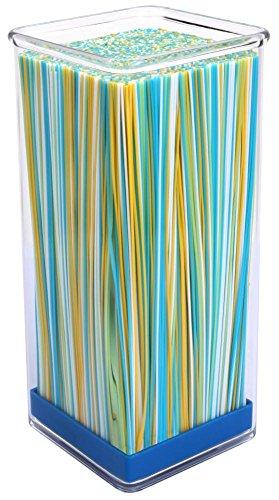 Culinario Messerblock aus Acryl mit farbigem Borsten-Einsatz, in blau, 10 x 10 x 22,5 cm