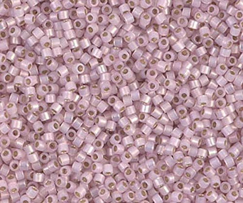 (5g Silver Lined Pale Rose Opal 11/0 Delica Glass Pink Japanese Miyuki Seed Beads Db-1457 Round Cylinder 1.6mm)