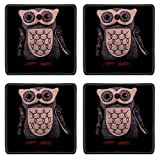 MSD Square Coasters Non-Slip Natural Rubber Desk Coasters design 34543144 Handmade Statue of an Owl on Black Background