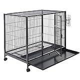 Giantex Black 44'' Dog Crate Kennel Heavy Duty Metal Wire Pet Playpen w/ Tray Pan