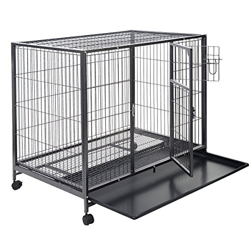 Giantex Black 44'' Dog Crate Kennel Heavy Duty Metal Wire Pet Playpen w/ Tray Pan