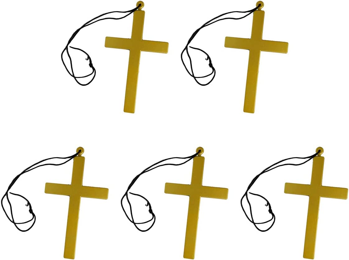 Amosfun Collar de Cruz de plástico Dorado 5pcs Priest Monk Crucifix Accesorio de Disfraces para Disfraces de Halloween