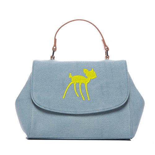 Designer Handbags Tote Denim Jean Embroidery LOOKS LIKE BAMBI RAIN DEER Bags for Women