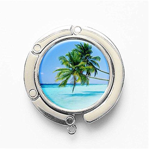 (RhyNSky Palm Trees in Beach Round Folding Foldable Handbag Hook Purse Hanger Holder for Table & Desk, C1521)