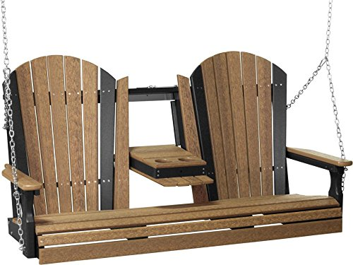 (LuxCraft PolyTuf 5' Adirondack Swing Antique Mahogany & Black )