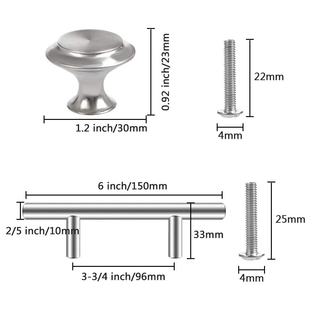 26 Pack Cabinet Pulls Brushed Satin Nickel 10 Pack Cabinet Door Knobs 3-3//4 Hole Center Stainless Steel Cabinet Hardware for Kitchen Bathroom Cupboard Door TIMESETL 36 Pack Kitchen Cabinet Handles