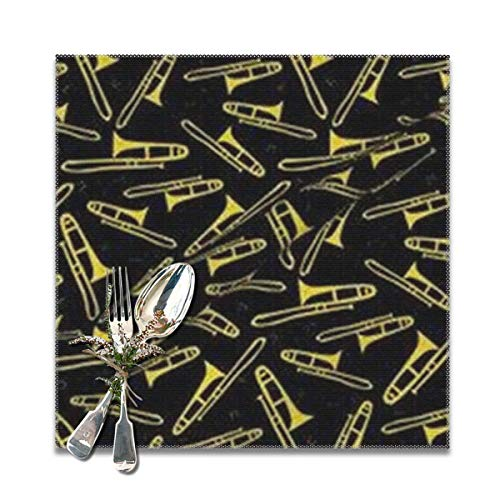 shirt home Trombone Wallpapers Placemats for Dining Table,Washable Placemat Set of 6, 12x12 inches]()