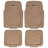 Motor Trend MT-921-BG FlexTough Tortoise - Heavy Duty Rubber Floor Mats for Car SUV Van & Truck - All Weather Protection - Deep Dish (Tan Beige)