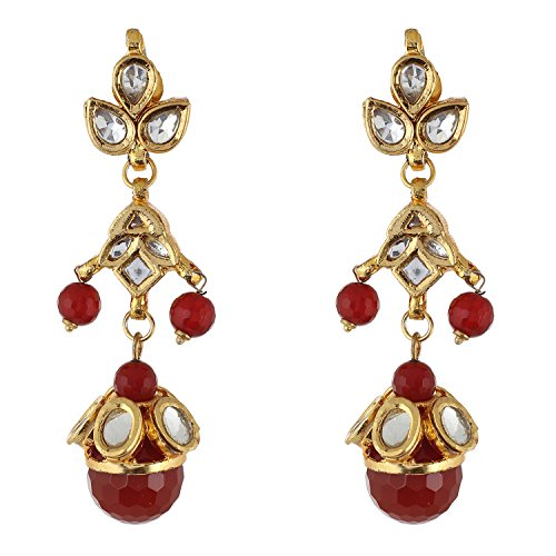 Be You Stylish White Colour Kundan Meena Work Rhodium Plated Brass Dangle Earring for Women (Chand Plated Brass)