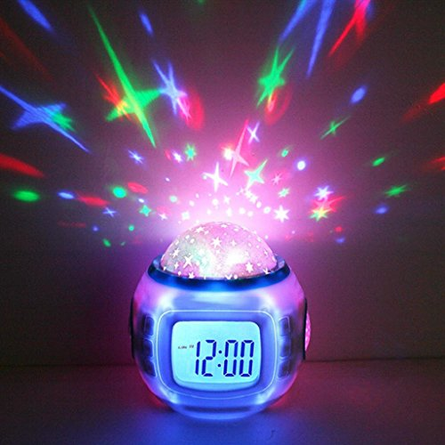 Star Night Light Sky Projector Lamp with Alarm Music Clock,LIYUDL Children Baby Cosmos Starry Night Light for Christmas (Clock Cosmo)