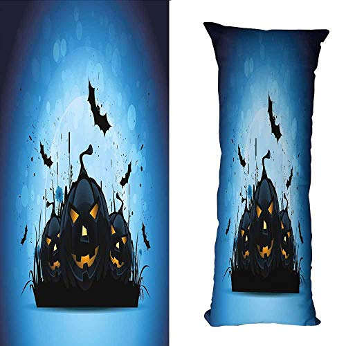 DuckBaby Rectangular Pillowcase Halloween Scary Pumpkins in Grass with Bats Full Moon Traditional Composition Soft and Comfortable W23.5 xL67 Black Yellow Sky Blue