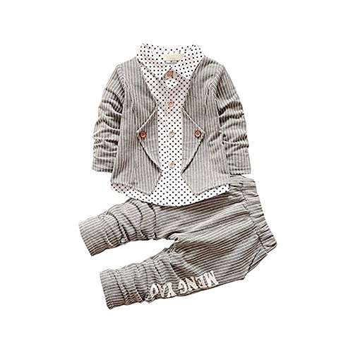 (BibiCola New Spring Baby Boy Clothing Toddler Boys 2pcs Clothes Suit Baby Infant Tracksuit Set Kids Gentleman Stripe Outfits (4T, Gray))