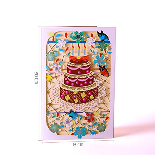 TwJim Greeting Cards Handmade Birthday Wedding Invitation 3D Pop Up Card Flower New ()