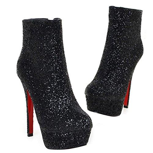 Enmayer Dames Glitter Materiaal Schoenen Hoge Hakken Winter Enkellaarzen Feest & Bruiloft Puntschoen Laarzen Black1