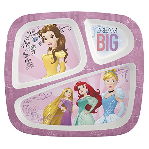 Zak Designs Princess 3 Section Divided Plate for Toddlers, Princess