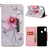 for Xiaomi Redmi Note 5 Wallet Case with Card Holder,Xiaomi Redmi Note 5 Pro Leather Phone Cases and Screen Protector,QFUN Elegant Pattern Design [Pink Lotus] Magnetic Closure Stand Function Shockproof Anti-Scratch Drop Protection Etui Shell Bumper Protective Flip Cover with Lanyard