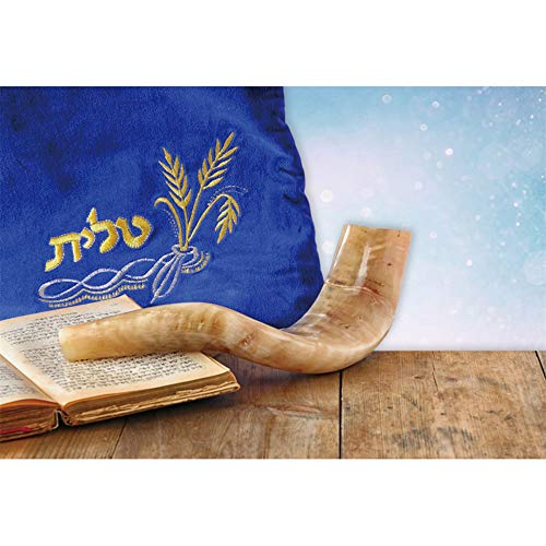 Laeacco Rosh Hashanah Background 10x7ft Shofar Horn Photography Backdrop Blue Prayer Shawl Harvest Wheat Shining Bokeh Halos Wooden Table Jewish New Year Tradition Holiday Portrait Shoot Poster