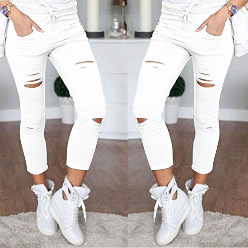 Color : Green, Size : M MTOFAGF Gamiss Fashion Women Casual High Waist Skinny Ripped Pants MTOFAGF Brings You The Best