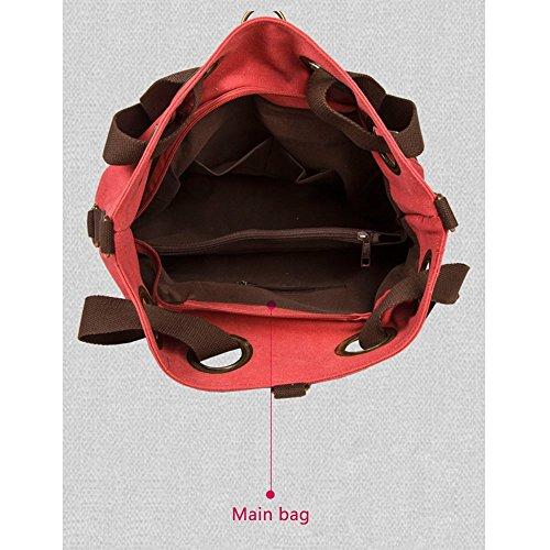 Anne - Bolso al hombro de Lona para mujer negro Red marrón