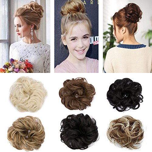 Synthetic Hair Bun Extension Colorful Elegant Chignon Hair Scrunchies Extensions Updo Curly Wavy Donut Hair Pony Tail Hairpiece Black Brown Blonde Amazon In Clothing Accessories