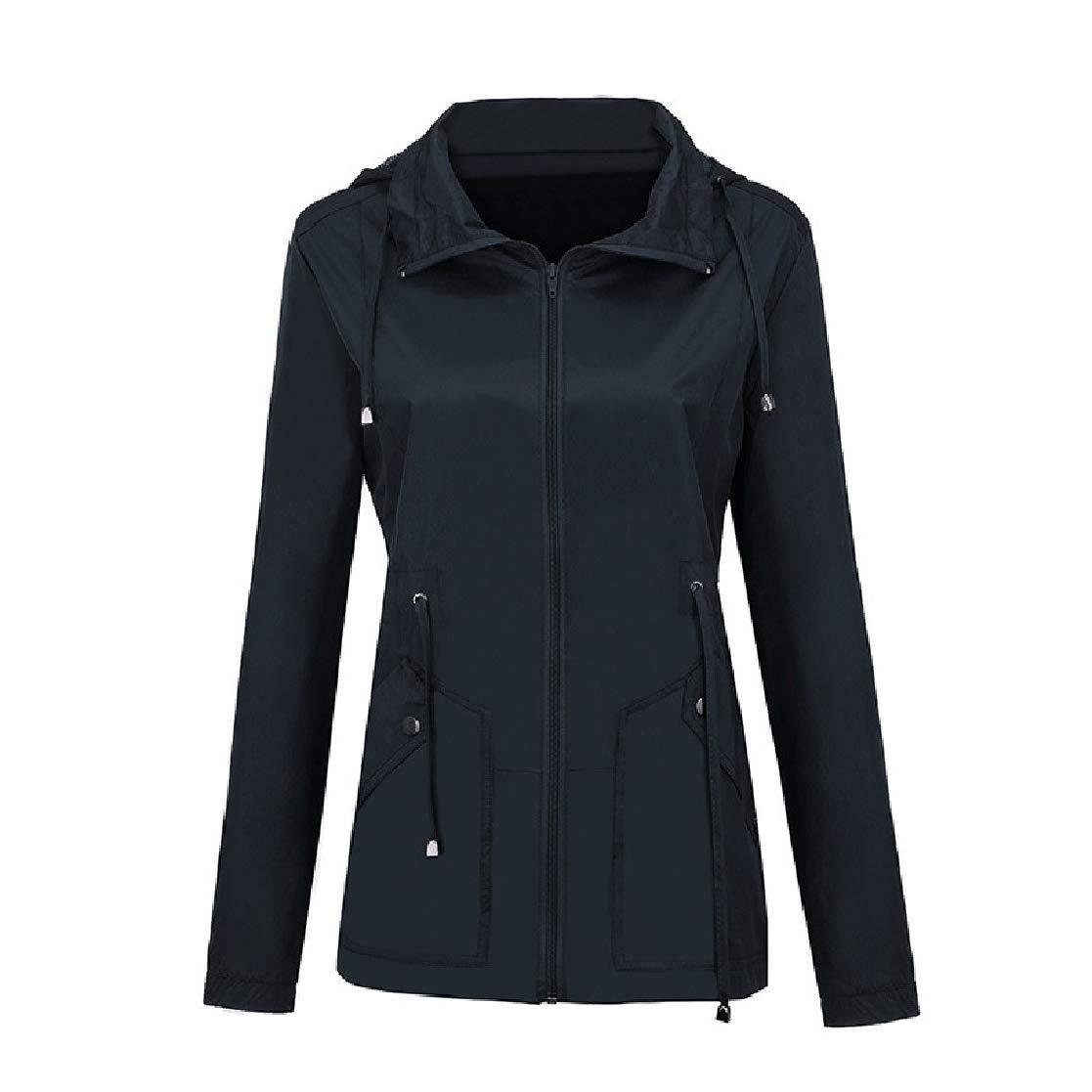 YUNY Womens Waterproof Hoodie Weekend Pure Color Elastic Biker Jacket Navy Blue S