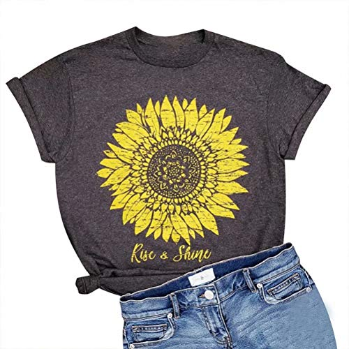 LOTUCY Women Rise and Shine Letter Print Shirt Sunflower Graphic Tee T Shirt Short Sleeve T-Shirt Tops Black