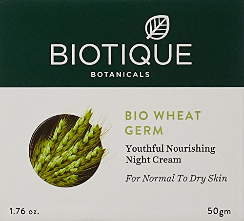 Biotique Wheatgerm Youthful Nourishing Night Cream for Normal to Dry Skin, 50g 2021 July Wheat germ oil is one of the most sensitive oils in the botanical world Natural antioxidant with more vitamin e than any other natural oil Ts pampering properties also protect skin from dryness and environmental stress