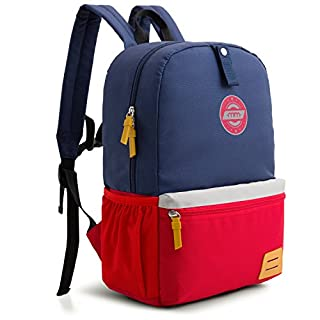 mommore Large Size Kids Backpack for School Lunch Bag Chest Clip for 4-7 Years Old, Dark Blue