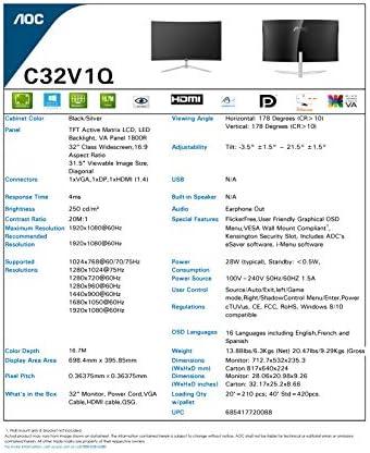 AOC C32V1Q 31.5″ Full HD 1920×1080 Monitor, Curved VA Panel, 4ms 75Hz, Frameless, HDMI/DisplayPort/VGA, Flickerfree, Low Blue Mode, VESA, Black 51xyEhRKbsL