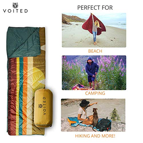 Voited Ripstop Outdoor Pillow Blanket – Versatile Insulated & Water-Resistant Blanket for Camping, Hiking, Picnics & The Beach (Cabo Pulmo)