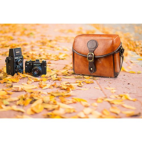 Topixdeals Vintage Camera Bag, DSLR Shoulder Camera Bag with Removable Inserts, Waterproof Shockproof Camera Case for Canon, Nikon, Sony, Pentax, Olympus, Panasonic, Samsung (Brown)
